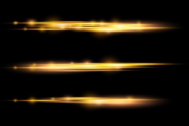Lichtstralen flitsen horizontale lensfakkels pakken laserstralen gloeien gele lijn heldere gouden schittering