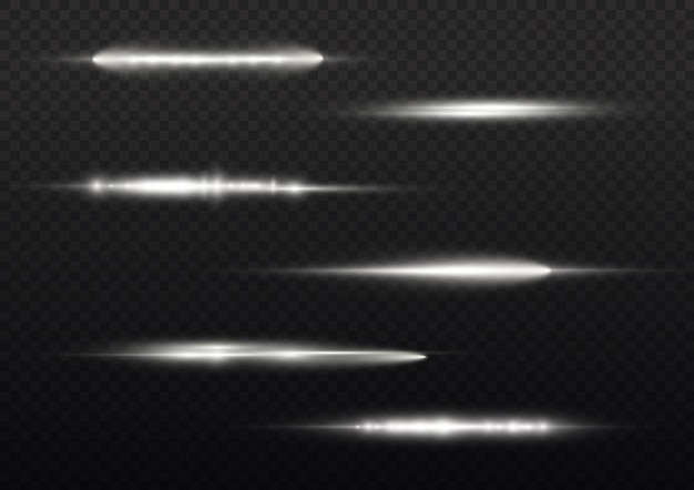 Lichtstralen flitsen witte horizontale lensfakkels pack laserstralen gloed witte lijn mooie flare