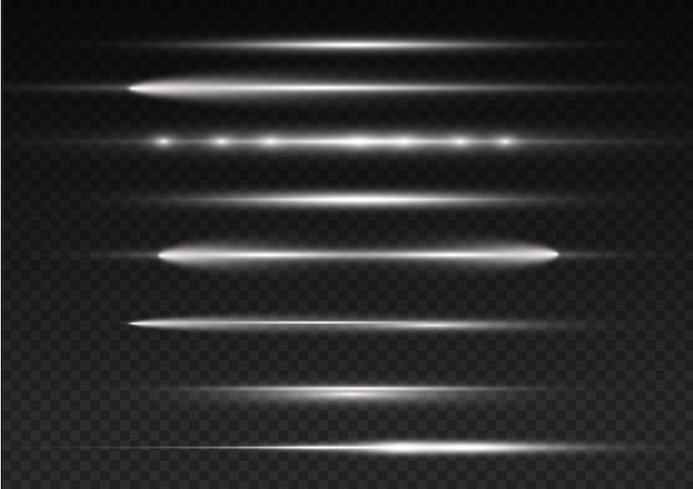 Lichtstralen flitsen witte horizontale lensfakkels pakken laserstralen gloeien witte lijn heldere gouden schittering