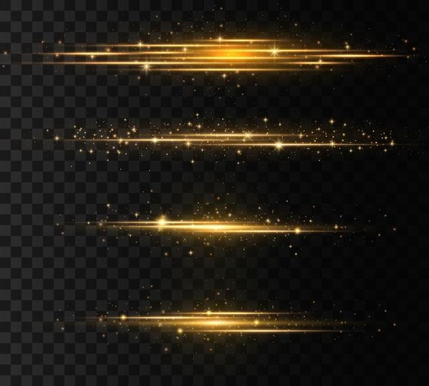 Lichtstralen glow line heldere gouden schittering op transparante achtergrond