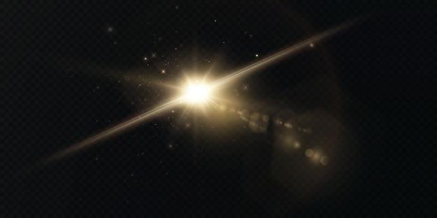 Lichtstralen van licht horizontale gouden en blauwe kleur met schittering en flitsen geïsoleerd op een transparante achtergrond