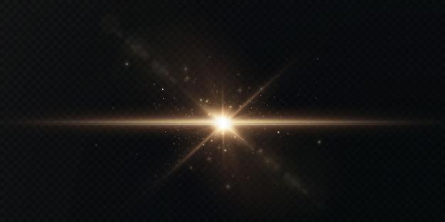 Lichtstralen van licht horizontale gouden kleur met schittering en