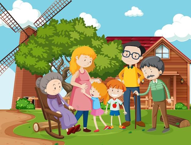 Lid van de familie bij de openluchtscène van het boerderijhuis