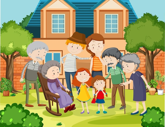 Lid van de familie thuis buitenshuis scène