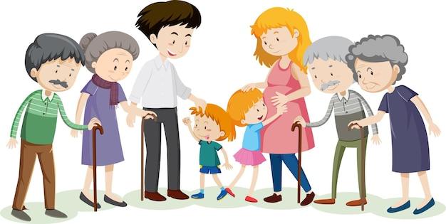 Lid van de stripfiguur van de familie op witte achtergrond