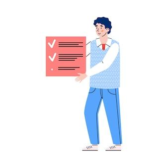 Lid van scrumteam houdt kleurenkaart of plakpapier vast voor agile ontwikkeling