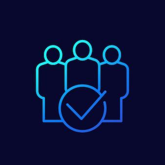 Lidmaatschap, lid worden van community line vector icon