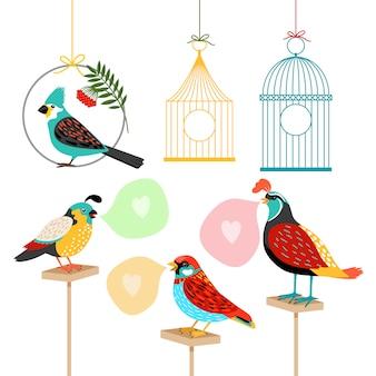 Liedvogels met tekstballonnen en vogelkooien