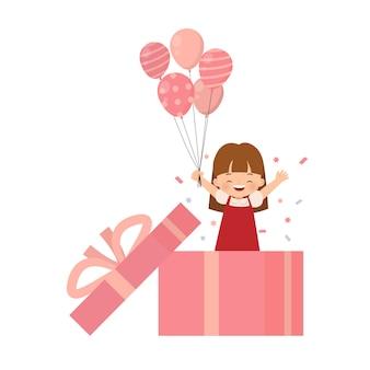 Lief klein meisje maakt een verjaardagsfeestje met confetti en ballonnen vanuit een enorme geschenkdoos. platte cartoon stijl geïsoleerd op een witte achtergrond