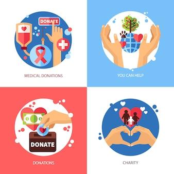 Liefdadigheid concept icons set