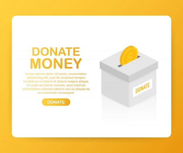 Liefdadigheid, donatie concept. doneer geld met box business, finance.
