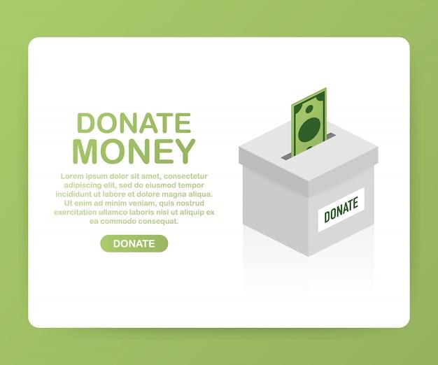 Liefdadigheid, donatie concept. doneer geld met box business, finance