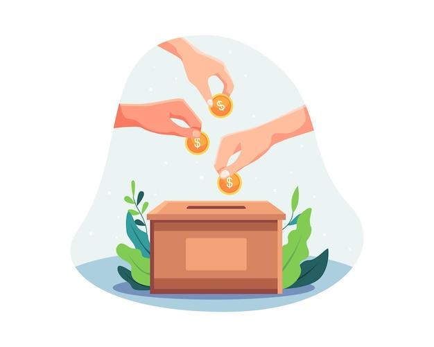 Liefdadigheid en gelddonatie. mensen stoppen geld in de donatiebox. mensenhanden gooien gouden munten in een doos voor donaties, donatie en financieringsconcept. vectorillustratie in een vlakke stijl