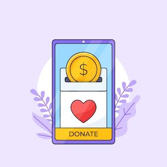 Liefdadigheid fondsenwerving donatie mobiele applicatie interface schets illustratie.