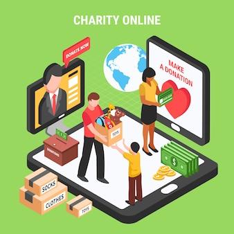 Liefdadigheid online isometrische samenstelling met vrijwilligers die donatieactiviteit uitvoeren voor kinderen en behoeftige mensen