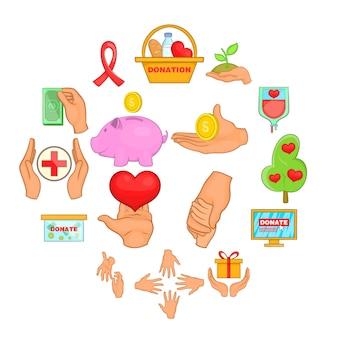 Liefdadigheid organisatie iconen set, cartoon stijl