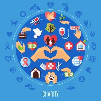 Liefdadigheid ronde compositie met set van geïsoleerde emoji-stijl donatiepictogrammen en decoratieve symbolen met silhouetten