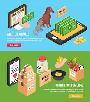 Liefdadigheid twee horizontale banners set van zorg voor dieren en liefdadigheid voor daklozen
