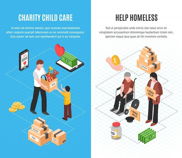 Liefdadigheid twee verticale banners met kinderopvang en daklozen helpen