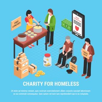 Liefdadigheid voor dakloze isometrische sjabloon