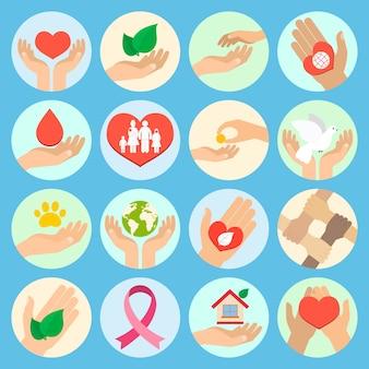 Liefdadigheids donatie sociale diensten en vrijwilligerspictogrammen instellen met geïsoleerde handen vectorillustratie