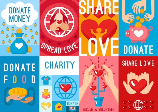 Liefdadigheidsdonatie posters set