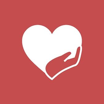 Liefdadigheidslogo, handen ondersteunend hartpictogram plat ontwerp vectorillustratie