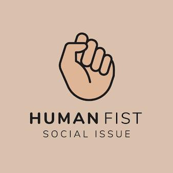 Liefdadigheidslogo sjabloon, non-profit branding ontwerp vector, menselijke vuist sociale kwestie tekst
