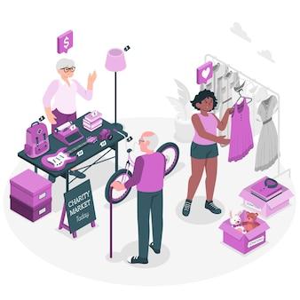 Liefdadigheidsmarkt concept illustratie