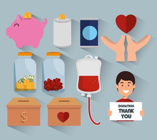 Liefdadigheidsschenking icon set