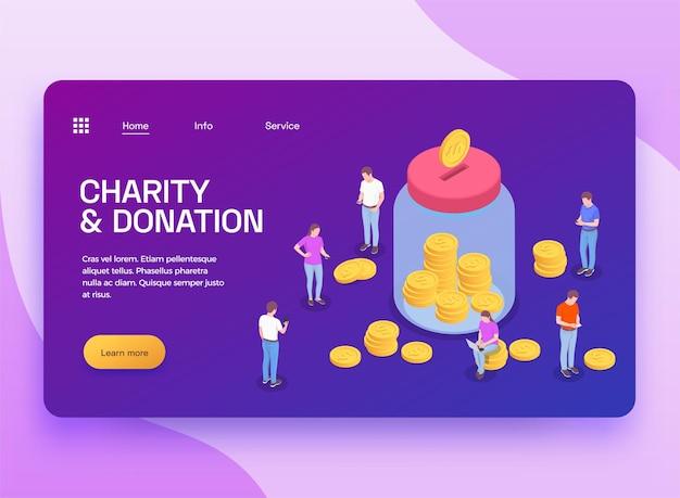 Liefdadigheidsschenking vrijwilligerswerk isometrische bestemmingspagina-banner