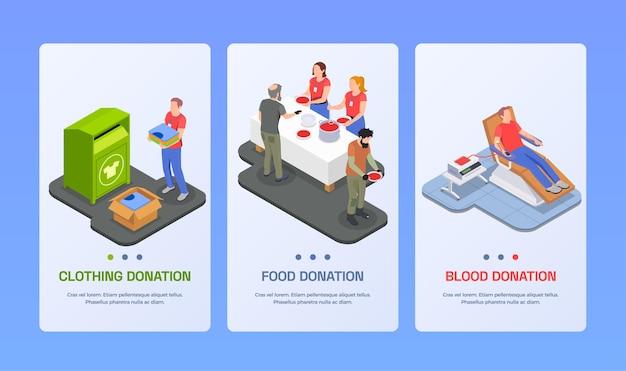 Liefdadigheidsschenking vrijwilligerswerk isometrische set van verticale banners illustratie