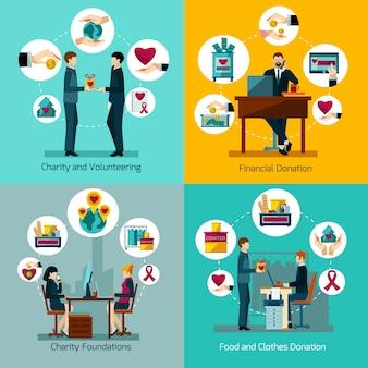 Liefdadigheidstichtingen voedselkleren en geldschenkingen 4 vlakke pictogrammen vierkante samenstelling