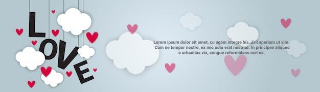 Liefde backgorund valentijnsdag horizontale banner met kopie ruimte