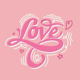Liefde belettering achtergrond concept