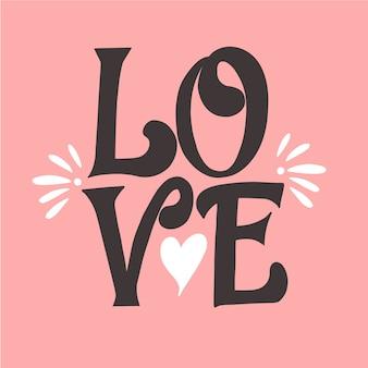 Liefde belettering en een schattige vorm van hart