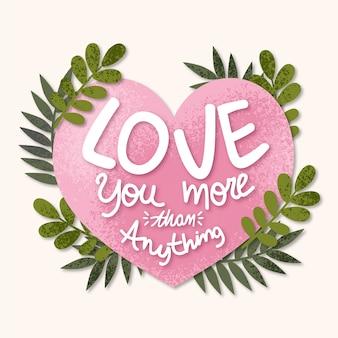 Liefde belettering met liefde en bladeren