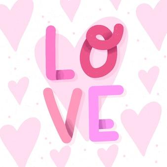 Liefde belettering ontwerp met harten