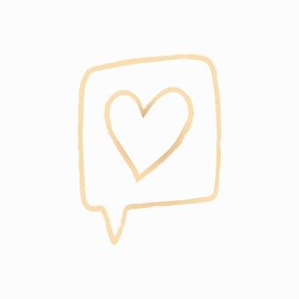 Liefde bericht element vector in doodle stijl