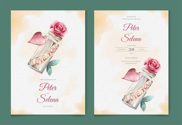 Liefde bericht fles mooie aquarel bruiloft uitnodiging set
