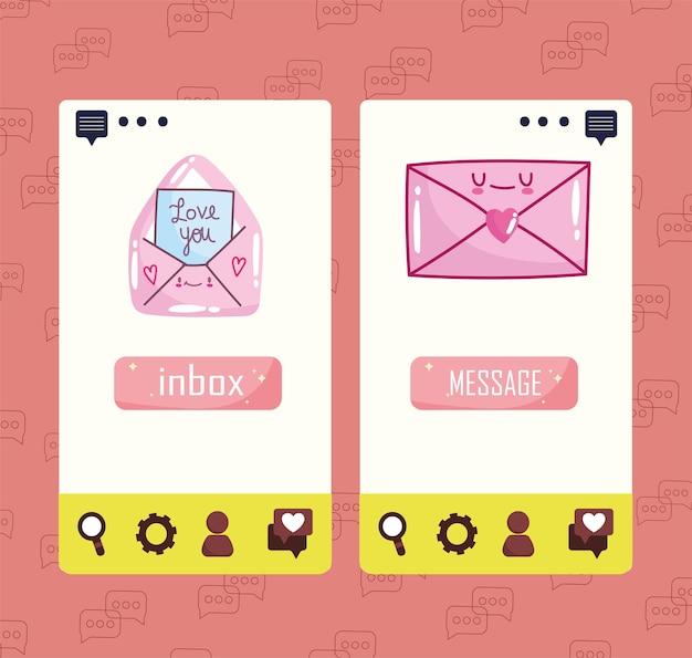 Liefde bericht inbox telefoon schattig