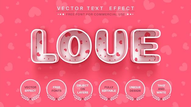 Liefde bewerk teksteffect lettertypestijl