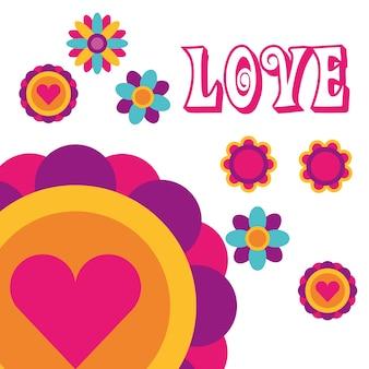 Liefde bloemen liefde hart boheemse hippie vrije geest