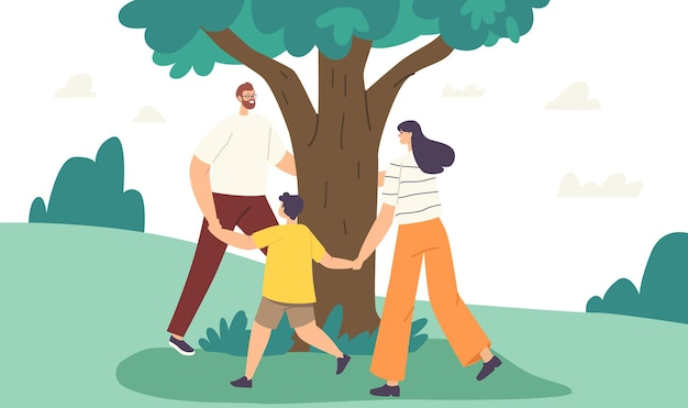 Liefde boom concept. saamhorigheid, outdoor milieu-activiteit zomerrecreatie. moeder, vader en kind hand in hand, gelukkige familiekarakters dansen rond de boom. cartoon mensen vectorillustratie