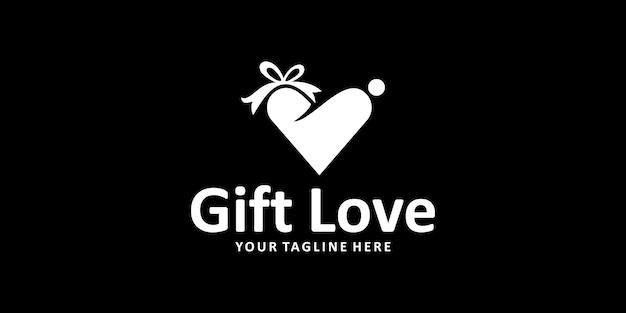 Liefde cadeau logo ontwerp inspiratie