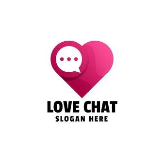 Liefde chat gradiënt logo sjabloon