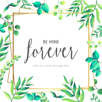 Liefde citaat met florale frame