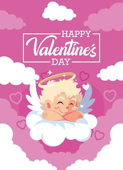 Liefde cupid cartoon over wolk kaart