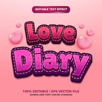 Liefde dagboek leuke cartoon bewerkbare teksteffect sjabloonstijl