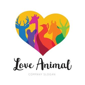Liefde dier logo sjabloon